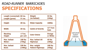 RoadRunner Barricades Specifications